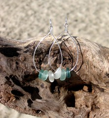 IMG_7541 (LindseysBeachGlass) Tags: blue sea white green beach glass colors leather silver hawaii wire aqua handmade teal jewelry clear bracelet hawaiian earrings seaglass rarecolor olibe