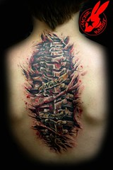 Spine Tattoo by Jackie Rabbit (Jackie rabbit Tattoos) Tags: city tattoo flesh out star virginia cool blood colorful skin good awesome rip great creepy roanoke gross va bones bone spine bloody tear jackierabbit