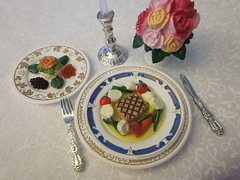 Five Star French Restaurant # 6 (MurderWithMirrors) Tags: flowers food vegetables french miniature knife plate fork rement candlestick swordfish caviar mwm salmonmousse
