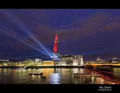 The_Shard (esslingerphoto.com) Tags: show bridge blue light england urban reflection london wet water thames skyline architecture night skyscraper canon buildings londonbridge river photography lights europe exposure capital photographers spotlight single hour laser 5d shard renzo bankside mkii tallest the esslingerphotocom