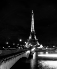 Lights on the Water (DPGold Photos) Tags: city longexposure travel bridge light paris france night river boat cityscape eiffeltower eiffel toureiffel portfolio streaks dpgoldphotos