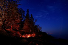 North Shore Campsite (JohnMiller Photography) Tags: trees night stars time tent tokina campfire northshore lakeshore lakesuperior lutsen 1116 gitcheegumee tokina1116