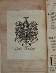 John Barlow bookplate - Jure Maritimo by Malloy 1690 (AndyBrii) Tags: old england english john james woodcuts antique books maritime law naval barrister rare barlow textbook bookplate engravings malloy heraldic charlesmalloy juremaritimo 1690london