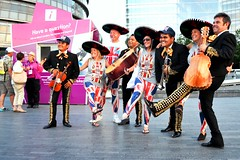 London Now..... (pallab seth) Tags: world summer people london festival musicians mood candid picture culture celebration mexican olympics supporters informationbooth 2012 morelondon mariachis olympicgames london2012 traditionalmexicanfolkmusicians