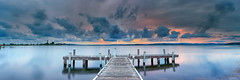 Squid's Ink (Bruce_Hood) Tags: old sunset lake reflection water clouds pier belmont pano jetty a