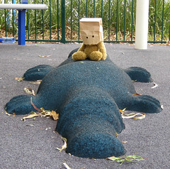 Sitting on a platypus (still an angry muppet) Tags: lake playground play teddy equipment apex teddybear queensland teddies platypus gatton rubberised lakeapex teddybaghead rubberisedplatypus