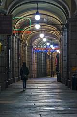 colored arcade (antpass79) Tags: girl night lights arcade colored luci notte portico ragazza colorato