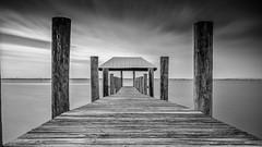 Dock Walk (petojustin) Tags: ocean longexposure sea bw seascape monochrome clouds sunrise landscape outdoors blackwhite dock florida 10 shoreline stuart stop coastline ndfilter sonya6000