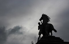 The Last Picture I Took in Paris (skipmoore) Tags: bw horse paris silhouette statue clouds