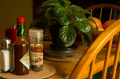 Seasoning (Fiddling Bob) Tags: plant fruit pepper chairs interior salt spices tabasco hotsauce tabletop seasoning smcpentaxm504