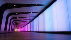 IMGP2044-e (anjin-san) Tags: uk greatbritain england colour station spring lowlight neon unitedkingdom availablelight tube illumination tunnel commute gb stpancras 2016