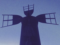 Vaiennut jtti - Ceased Giant (Lauri Laurn) Tags: wood old blue building art mill windmill grey evening wooden twilight dusk contemporaryart contemporary photoart jrvenp outsiderartist outsiderartists vanhankylnniemi