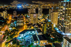Night view of the Palolo region, Waikiki, Honolulu, Hawaii, USA (Victor Wong (sfe-co2)) Tags: park travel blue light vacation cliff usa mountain holiday green tourism nature beautiful beauty field night rural landscape hawaii hotel high scenery view nightscape waikiki outdoor horizon hill scenic scene aerial destination hyatt honolulu hillside range idyllic regency palolo