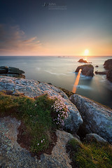 Two minutes at Lands end (T_J_P) Tags: flowers light sunset sea golden cornwall cliffs landsend leefilters