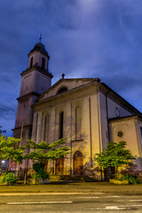 Lonely church at dusk (Job I) Tags: city blue light white building church architecture night germany europe long exposure cityscape colours different dusk low religion kirche nrw moonlight ruhrgebiet dortmund gertrudis nordstatt