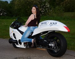 Natalie_3283 (Fast an' Bulbous) Tags: santa england woman hot sexy girl pits bike race drag high pod nikon track outdoor gimp babe chick turbo strip moto motorcycle heels biker suzuki brunette turbocharged hayabusa busa d7100