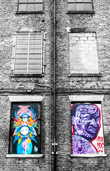 angry teller and 6 windows contrasts (PDKImages) Tags: urban streetart art mill abandoned beauty lady contrast manchester graffiti eyes colours anger lips fortune hidden angry drama fortuneteller unexpected teller liom