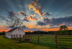 Sunset  (kaising_fung) Tags: sunset clouds farmhouse fence ray