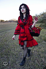 Through the woods 7710 (JoDi War) Tags: trees sunset red wild nature grass fairytale dark lost blood woods wolf dress boots lace gothic victorian velvet hood storybook rhyme grandmothershouse nurseryrhyme throughthewoods storytale