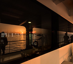 Sea of Marmara Ferry Crossing Dawn Reflections (p.g604) Tags: morning sea people orange sun white black window water glass ferry contrast reflections dawn ship crossing shadows cola horizon silhouettes istanbul structure cocoa marmara