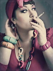 The smocker (KateDetry) Tags: woman mirror kat autoportrait cigarette smocking detry