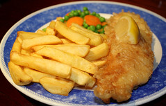 Fish and chips in Blackpool. Coral Island Restaurant. (elsa11) Tags: uk england food fish restaurant seaside diner frenchfries chips lancashire promenade peas carrots blackpool fishandchips seasideresort coralisland blackpoolgoldenmile