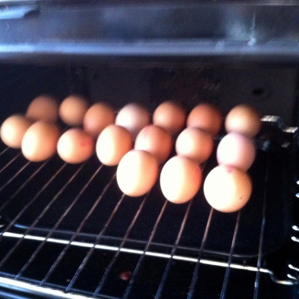 Ive just hard-boiled a load of eggs in the oven ready for decorating at Lifeline tomorrow! I know, I know it looks like madness but its worked and theres no dishes to wash! Got the idea from good old #Pinterest . 30min at 170C (no idea how to do a d