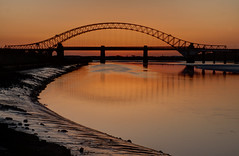 England - Runcorn - Jubilee Bridge At Sunset From Wigg Island - HDR - 27th March 2012-73_4_5.jpg (Redstone Hill) Tags: bridge sunset england cheshire tripod hdr mersey jubileebridge runcorn halton rivermersey runcornwidnesbridge canon50d manfrotto055xprobtripod