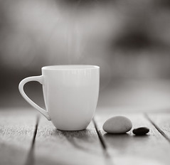 holiday morning coffee ({JO}) Tags: bw cup coffee monochrome table rocks pebbles mug prettylight loveautumnmornings