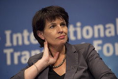 Doris Leuthard listens to co-panellists