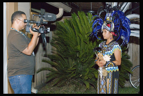 Marc Furi interviewing y Danza Azteca Taxcayolotl dancer