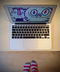 Striped (purplelime) Tags: feet apple socks macintosh mac desk striped jonburgerman 11inch macbookair iphone4s