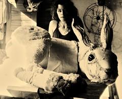 Joseph y yo en el taller. In my workshop (Valeria Dalmon) Tags: sculpture art me big hare arte conejo escultura puppets textil joshep liebre valeriadalmon