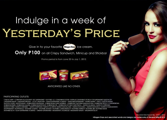 Haagen-Dazs promo - buy their Crispy Sandwich, Minicup and Stickbars for only Php 100