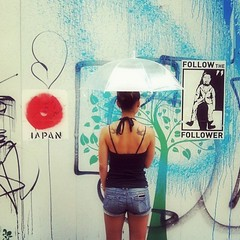 the war on culture (MdKiStLeR) Tags: street urban woman signs color japan umbrella tokyo asia paint grafitti shibuya culture messages 2012 urbanx mdkistler thewaronculture