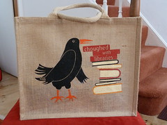 Choughed with libraries (Richard and Gill) Tags: bird bag cornwall library libraries bookbag stives chough publiclibrary cornish kernow chuffed penwith jutebag choughed