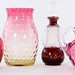 1049. (4) Victorian Cranberry Glass Objects