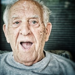 """dad telling his son """"happy birthday!"""" (vrot01) Tags: old love prime dad elderly fujifilm alzheimers recognition mybirthday dementia 35f14 xpro1 snapseed"""