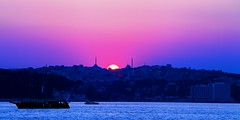Sunset on the Bosphorus. (sammsky) Tags: sunset turkey mediterranean peace islam istanbul mosque bosphorus ending marmara prometheus aegeansea magrib seaofmarmara mineret istanbulstrait colorphotoaward kandillipoint