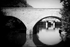 Bridge it Bard Eau (Mike Wood Photography) Tags: bridge blackandwhite bw ontario water arr stratford thebard punny leau mikewoodphotography canadianhomeofshakespeare