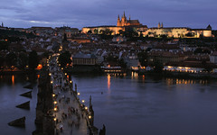 Blue hour (Zahadam Industries) Tags: from city travel bridge blue summer travelling tower castle st night river dark photography nikon europe republic view czech prague cathedral capital gothic charles praha visit most hour after visiting vltava hrad vitus 2012 d60 karlv eka prask hccity