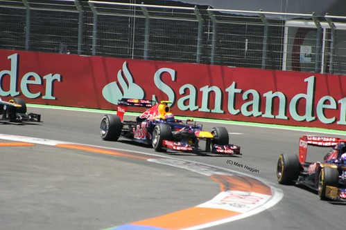 Mark Webber in his Red Bull Racing F1 car during the 2012 European Grand Prix in Valencia