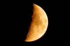 Waxing Cresent Moon (DaveJC90) Tags: light red summer orange moon white detail night evening bright sharp craters crater crop round planet 40 phase complete croped sharpness