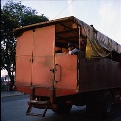 off to work (dogpong) Tags: city morning people streets 120 rolleiflex square kodak cuba rushhour santiagodecuba cubans portra160nc xenotar 28d santigueros buenodia