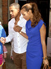 Marvin Humes and Rochelle Wiseman leaving their hotel for the first time as husband and wife following their wedding, which took place on Friday (July 27) at Blenheim Palace England