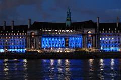 Day #1694 (cazphoto.co.uk) Tags: blue london water westminster lights dusk cityhall riverthames londonaquarium 200712 project366 canonpowershotg12 beyond1461