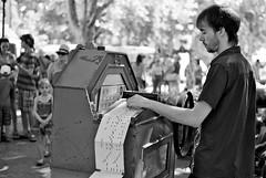 Frenchman and his Organ (Cris Rose) Tags: street leica blackandwhite music france market bokeh antique f14 sharp organ m8 40mm vignette instrament