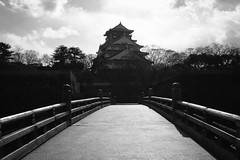Osaka Castle  (akwan.architect) Tags: bridge blackandwhite castle japan architecture japanese asia osaka unification osakacastle  sakaj chku azuchimomoyama