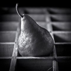 Old Pear (Alan Drake) Tags: wood blackandwhite bw fruit digital square nikon box naturallight pear d7000