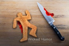 Wicked Humor - The Murder of Mr Breadman (We are only as good as our next picture) Tags: wood man bread death funny cut steel wheat humor grain knife police case fresh weapon meal murder outline bleed jam dying homicide strawbery choppingboard loave